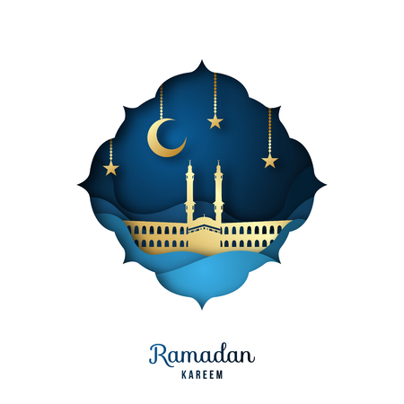 Ramadan Kareem Greeting card with golden mosque, crescent moon and stars. Paper cut landscape. Islamic festival celebration.