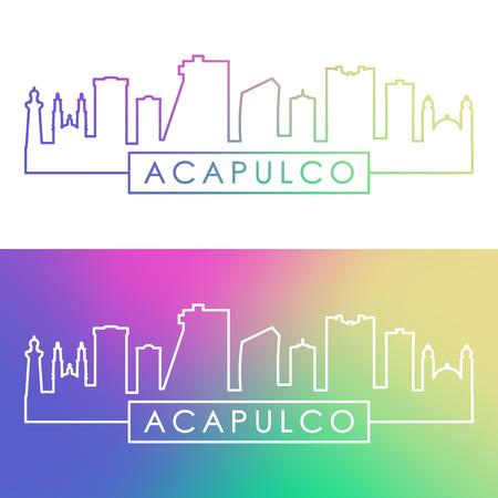 Acapulco city skyline. Colorful linear style. Editable vector file. Ilustração