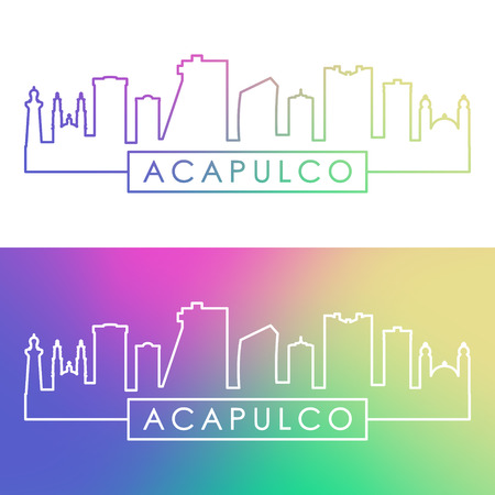 Acapulco city skyline. Colorful linear style. Editable vector file. Illustration