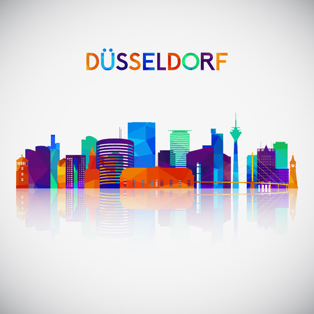 Düsseldorf skyline silhouette in colorful geometric style. Symbol for your design. Vector illustration. Çizim