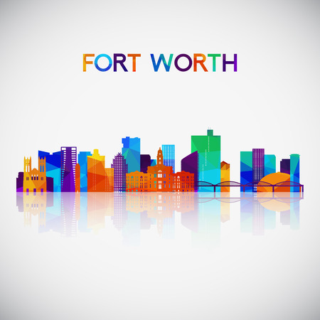 Fort Worth skyline silhouette in colorful geometric style. Symbol for your design. Illustration