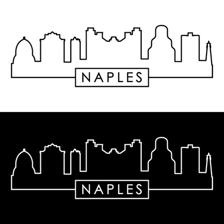 Naples city skyline. Linear style.