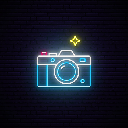 Neon sign of photo camera sign. Bright photography camera symbol.