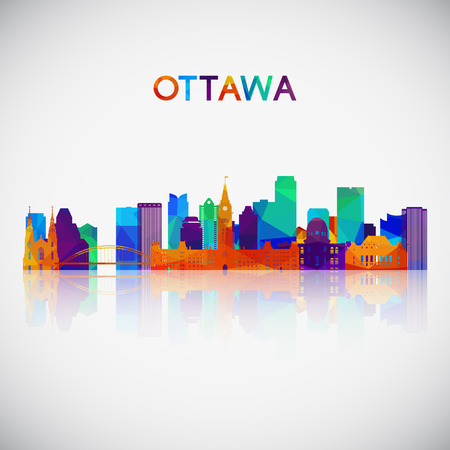 Ottawa skyline silhouette in colorful geometric style. Symbol for your design. Vector illustration.