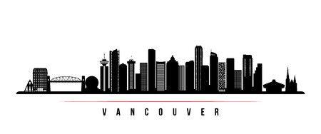 Vancouver city skyline horizontal banner. Black and white silhouette of Vancouver city, Canada. Vector template for your design.  Stock Illustratie