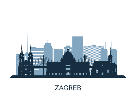 Zagreb skyline, monochrome silhouette. Reklamní fotografie - 122757709