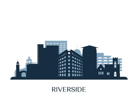 Riverside skyline, monochrome silhouette. 向量圖像