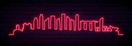 Red neon skyline of Singapore city. Bright Singapore long banner. Ilustracja