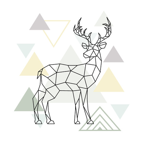 Streszczenie skandynawskie jelenie geometryczne. Renifer wielokątny. Widok z boku. Ilustracja wektorowa.