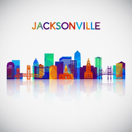 Jacksonville skyline silhouette in colorful geometric style. Symbol for your design. Vector illustration. Çizim