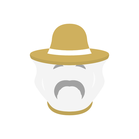 Beekeeper with protect hat icon. Men farmer face. Vector illustration.