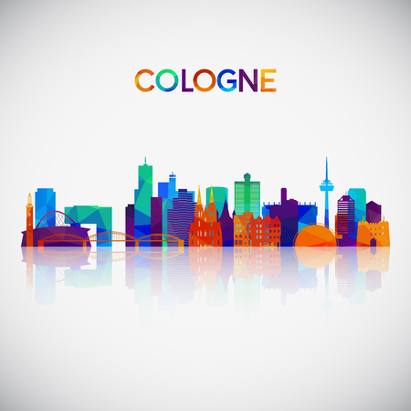 Cologne skyline silhouette in colorful geometric style. Symbol for your design. Vector illustration.