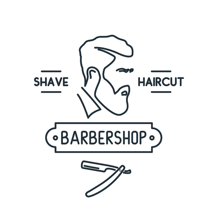 Barbershop line icon. Men with beard. Liner style. Vector illustration.