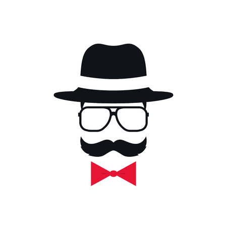 Hipster in hat, glasses and red bow tie. Portrait of man with mustache. Vector illustration.