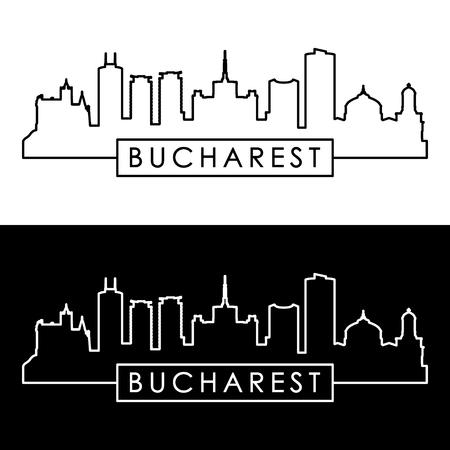 Bucharest city skyline. Linear style. Editable vector file. Ilustração