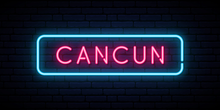 Cancun neon sign. Bright light signboard. Vector banner.