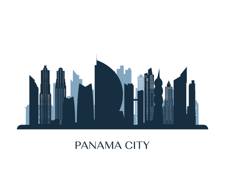 Panama City skyline, monochrome silhouette. Vector illustration.