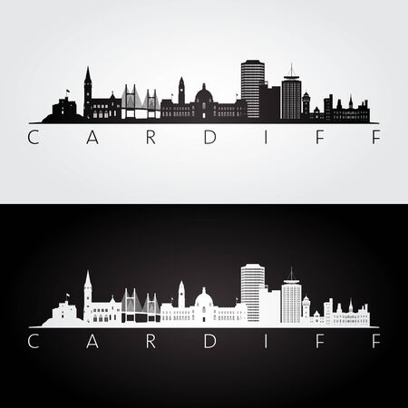 Cardiff skyline and landmarks silhouette, black and white design, vector illustration.