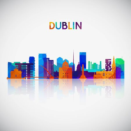 Dublin skyline silhouette in colorful geometric style. Symbol for your design. Vector illustration. Illustration