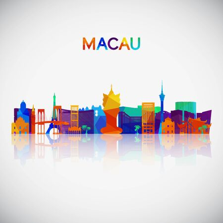 Macau skyline silhouette in colorful geometric style. Symbol for your design. Vector illustration.