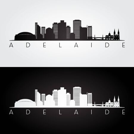 Adelaide skyline and landmarks silhouette, black and white design, vector illustration. Illusztráció