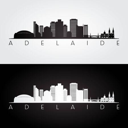 Adelaide skyline and landmarks silhouette, black and white design, vector illustration. Illustration