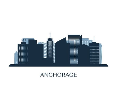Anchorage skyline, monochrome silhouette. Vector illustration.