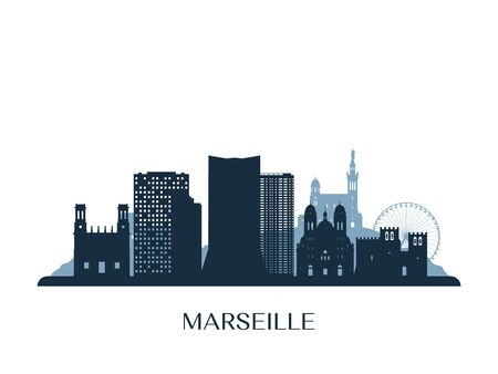 Marseille skyline, monochrome silhouette. Vector illustration.