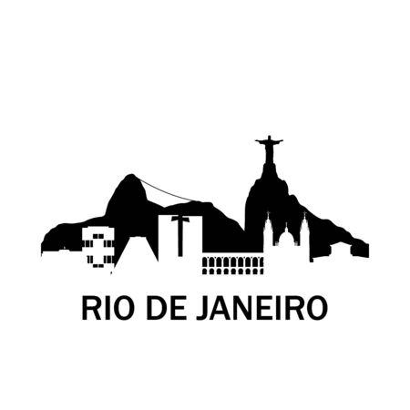 Rio de Janeiro city skyline. Negative space city silhouette. Vector illustration.