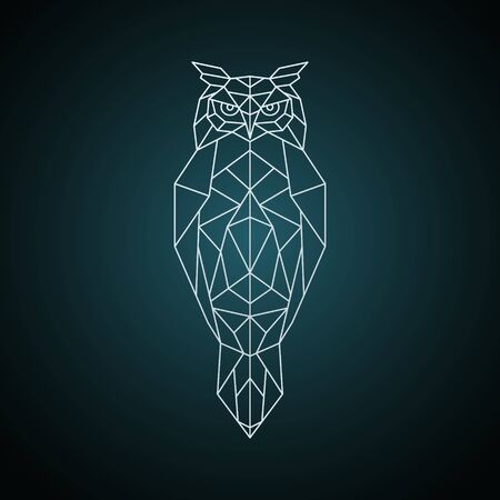 Owl in geometric style. Wild bird Vector illustration.