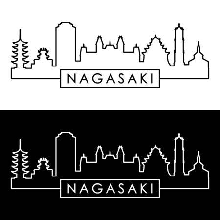 Nagasaki city skyline. Linear style. Editable vector file.