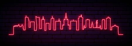 Red neon skyline of Warsaw city. Bright Warsaw Poland long banner. Vector illustration.