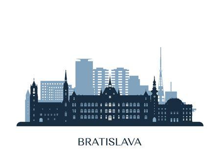 Bratislava skyline, monochrome silhouette. Vector illustration.