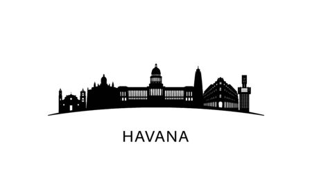 Havana city skyline. Black cityscape isolated on white background. Vector banner.