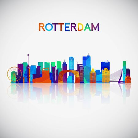 Rotterdam skyline silhouette in colorful geometric style. Symbol for your design. Vector illustration.