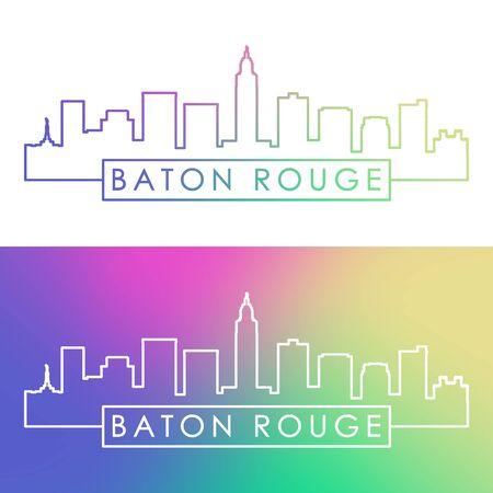 Toits de la ville de Baton Rouge. Style linéaire coloré. Fichier vectoriel éditable.