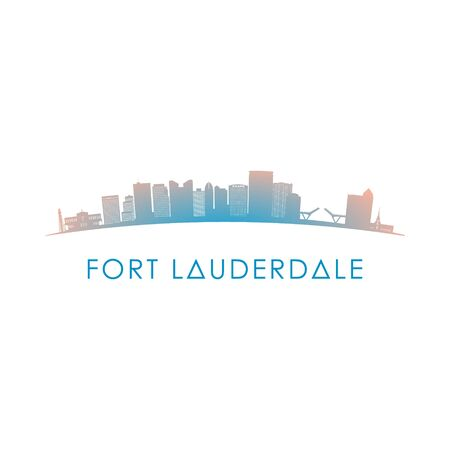 Fort Lauderdale skyline silhouette. Vector design colorful illustration.