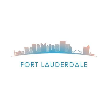 Silhouette d'horizon de Fort Lauderdale. Illustration colorée de conception de vecteur.