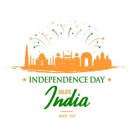 Independence Day India greeting banner. Illustration of famous buildings in Indian. Vector illustration.