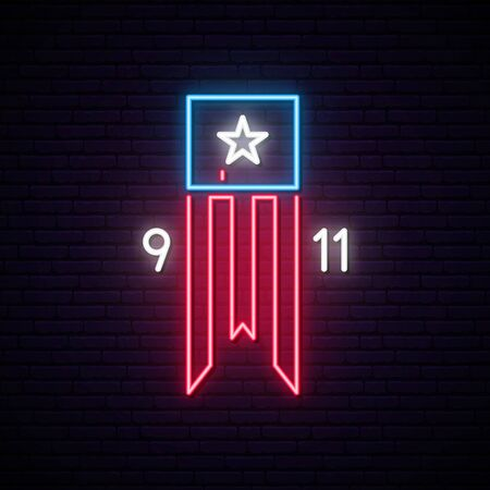 Patriot Day 9-11 neon sign. Twin Towers on american flag. Bright signboard September 11, 2001. Vector bright signboard.