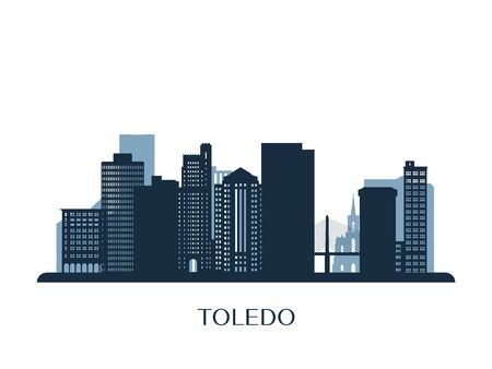 Toledo skyline, monochrome silhouette. Vector illustration.