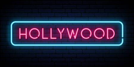 Hollywood neon sign. Bright light signboard. Vector banner. Vector Illustration