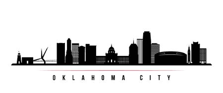 Oklahoma City skyline horizontal banner. Black and white silhouette of Oklahoma City, USA. Vector template for your design. Stok Fotoğraf - 129091330