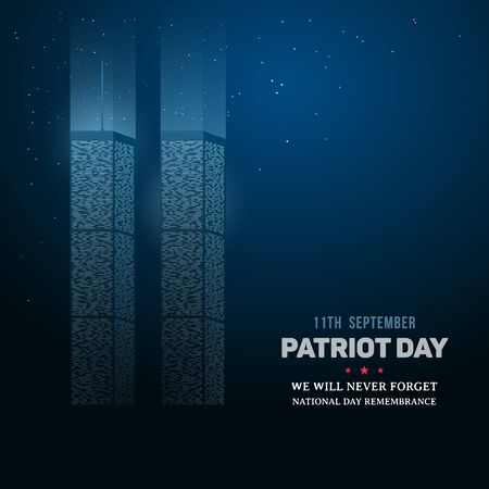 911 Day of Remembrance of the World Trade Center. Patriot day background. Twin towers memorial. Vector illustration. 向量圖像