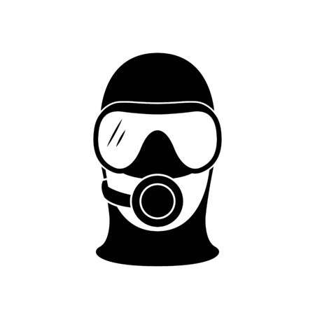 Scuba diver icon. Head silhouette with diving mask. Vector illustration.