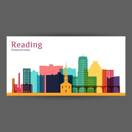 Reading city, Pennsylvania architecture silhouette. Colorful skyline. City flat design. Vector business card.