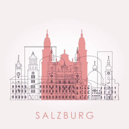 Outline Salzburg skyline with landmarks. Vector illustration. Business travel and tourism concept with historic buildings. Image for presentation, banner, placard and web site.  イラスト・ベクター素材