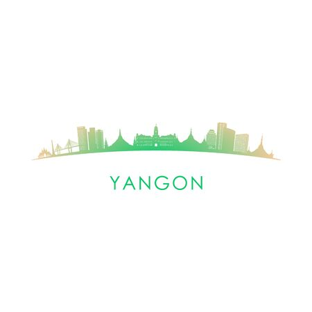 Yangon skyline silhouette. Vector design colorful illustration. Иллюстрация
