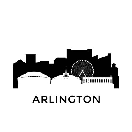 Arlington, Texas city skyline. Negative space city silhouette. Vector illustration. Ilustração