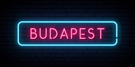 Budapest neon sign. Bright light signboard. Vector banner.